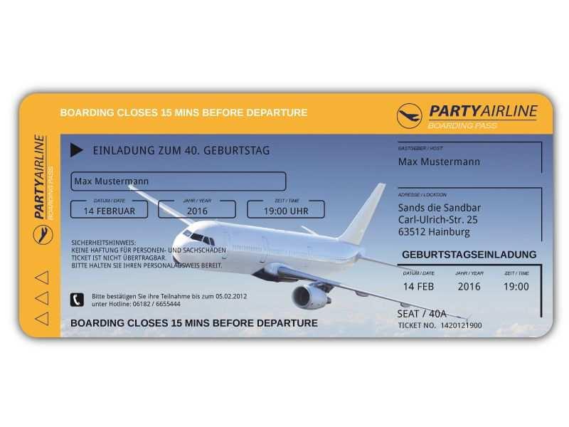 Einladungskarten Als Flugticket Zum Geburtstag Ticket Einladung