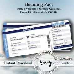 Party Einladung Airline Ticket Digital Flugzeug Ticket