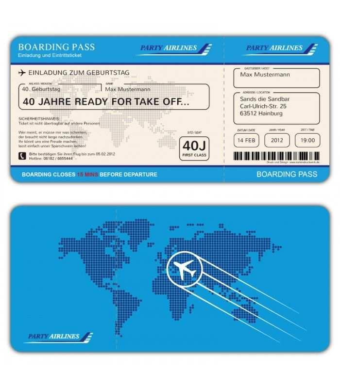 Einladungskarten Flugticket Geburtstag Ticket Einladung Karte Boarding Pass Blau Einladungen Einladungskarten Einladung Geburtstag