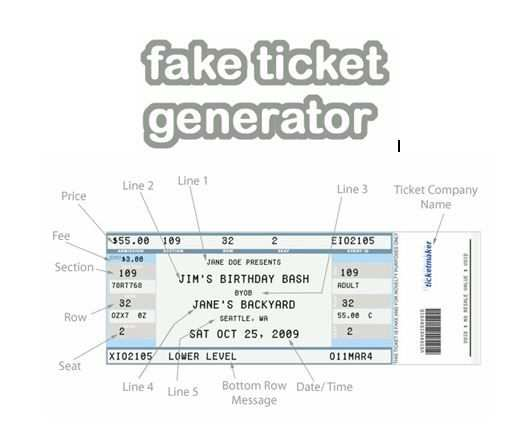 Fake Ticket Generator Create Your Very Own Novelty Concert Ticket Fee