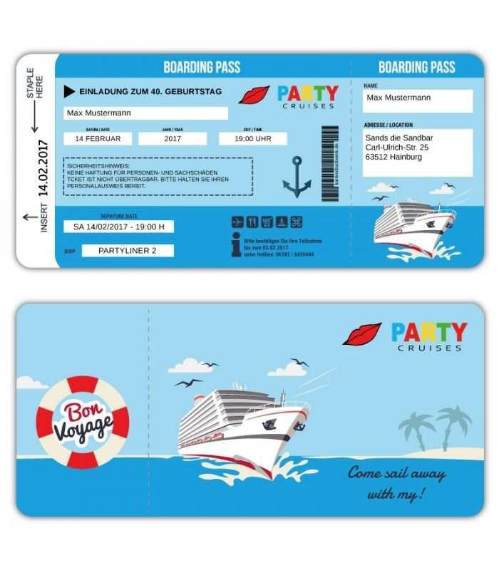 Einladungskarte Schiff Kreutzfahrt Ticket Bordkarte Party Cruises Boarding Pass Bordkarte Einladungen Bordkarte Einladung