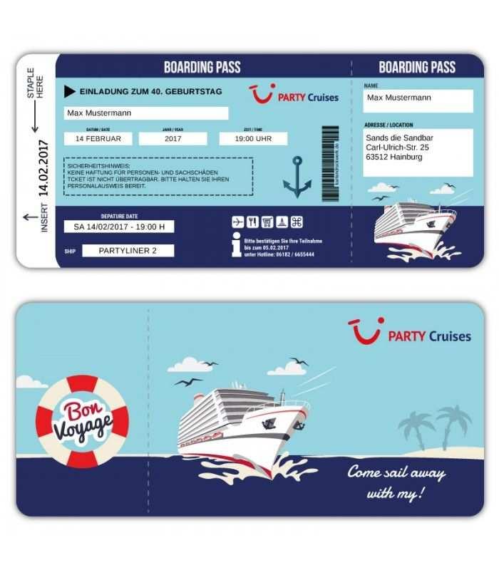 Einladungskarte Als Bordkarte Schiffsticket Kreuzfahrtticket Boarding Pass Pary Cruises Einladungskarten Geburtstag Einladungen Einladungskarten
