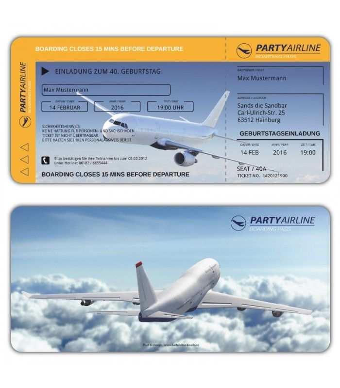 Einladungskarten Flugticket Geburtstag Ticket Einladung Karte Mit Perforation Einladungen Geburtstagseinladungen Ticket