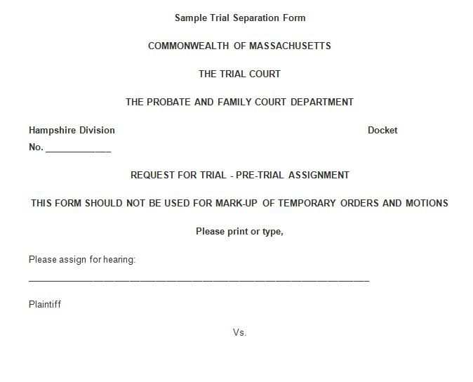 Free Trial Separation Fom Separation Certificate Templates Trials