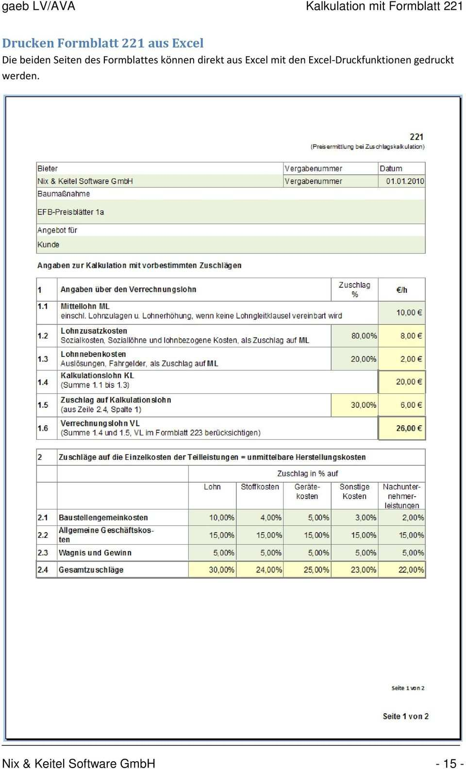 Gaeb Lv Ava Kalkulation Mit Formblatt 221 Gaeb Lv Ava Version 4 0