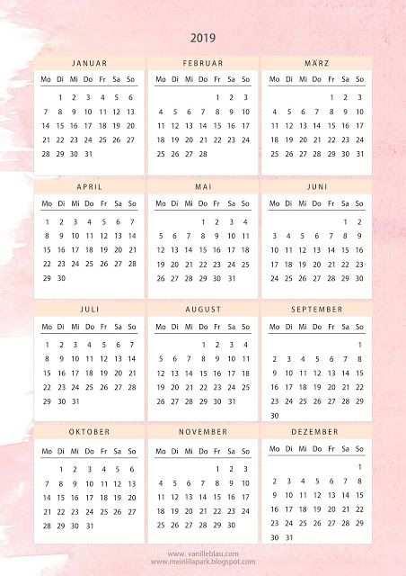 Kalender 2019 Printable In Hellrosa Wasserfarbendesign Freebie