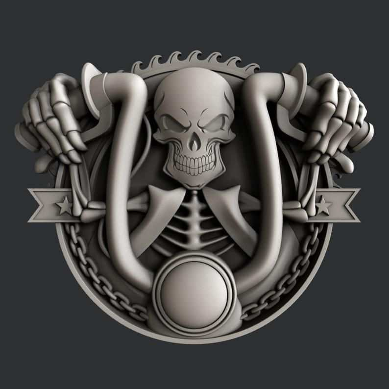 3d Stl Models For Cnc Skull Motorcycle In 2020 Schadel Cnc