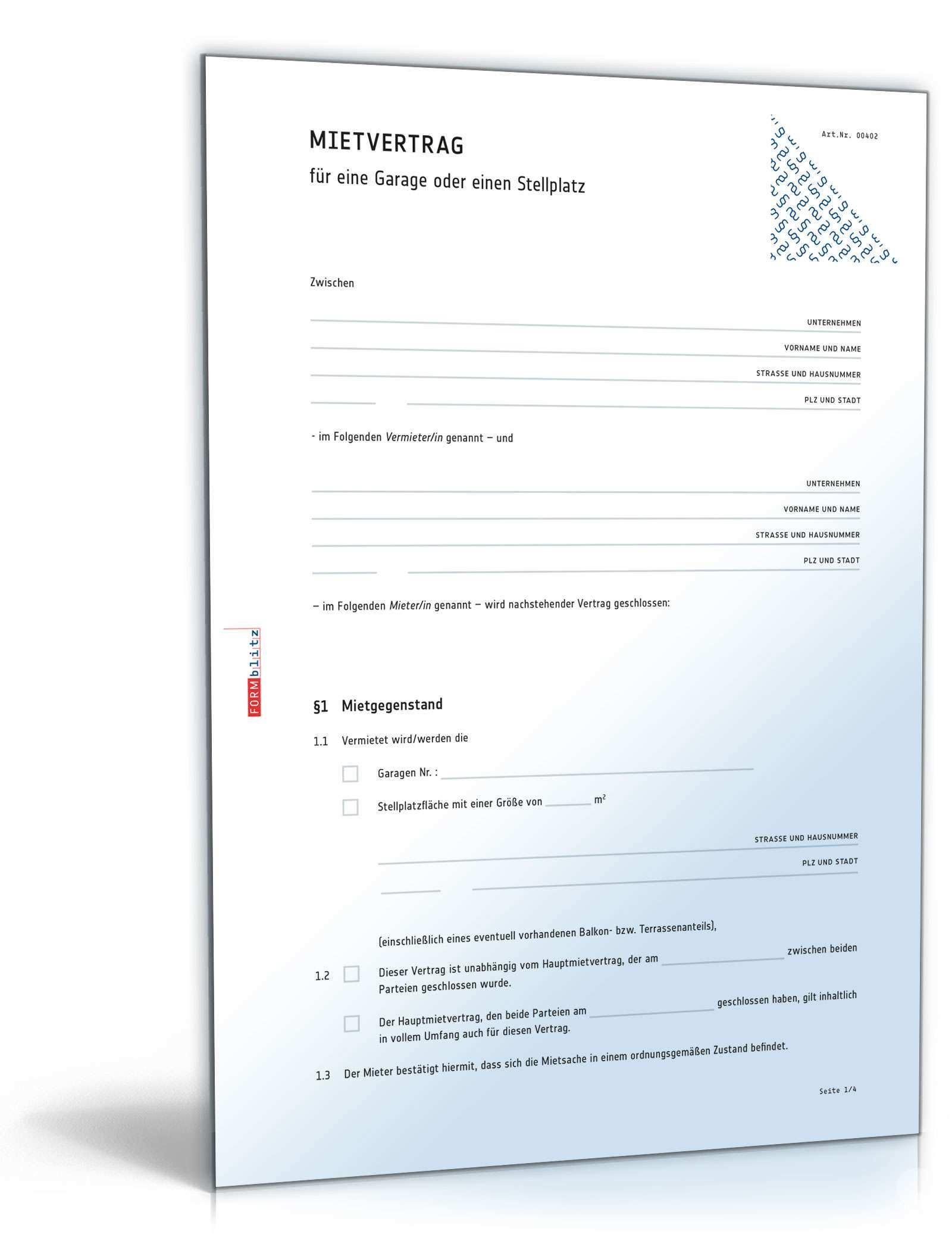 Mietvertrag Garage Rechtssicheres Muster Zum Download