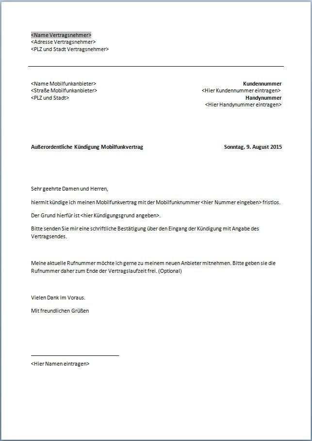Handyvertrag Kundigung Mobilcom Vorlage Kundigung Handyvertrag