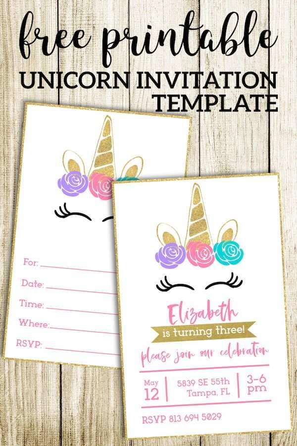 Free Printable Unicorn Invitations Template Einladungsvorlage