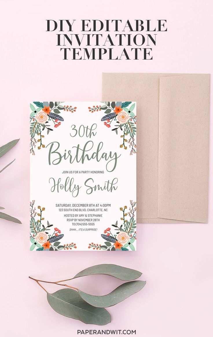 Floral Geburtstag Einladung Vorlage Download Boho
