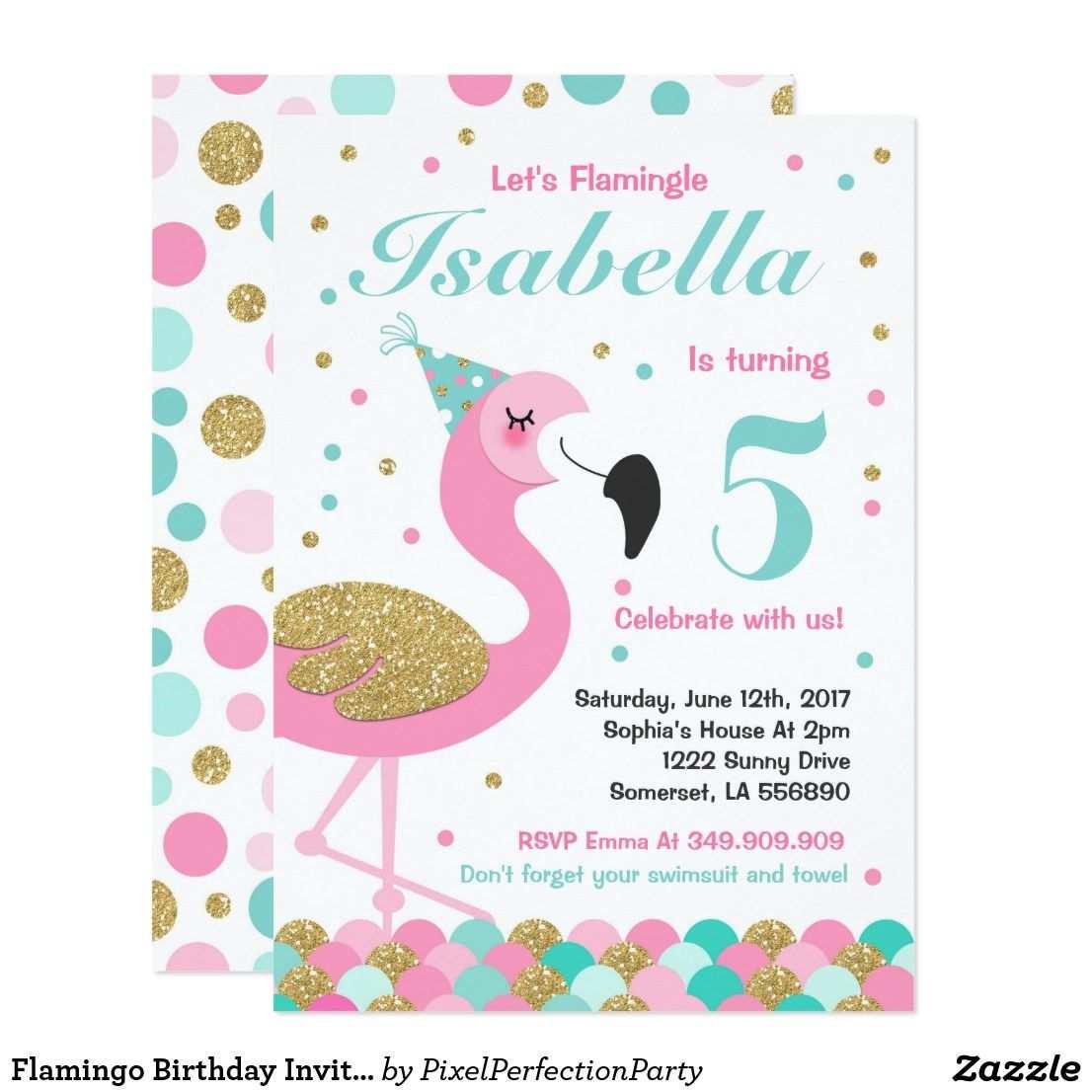 Flamingo Geburtstags Einladungs Aktuelles Einladung Zazzle De