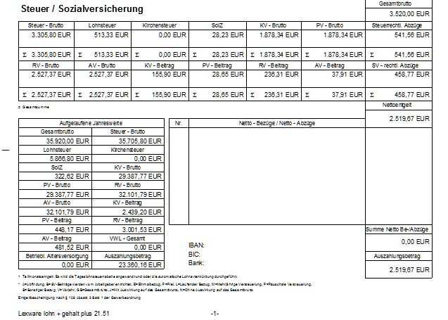 Muster Einer Lohnabrechnung Und Gehaltsabrechnung