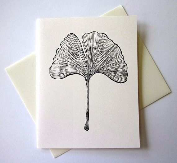Ginkgo Leaf Note Cards Stationery Set Of 10 Cards With Matching