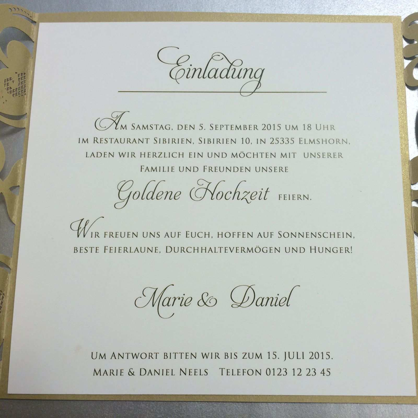 Einladungskarten Hochzeit Einladung Goldene Hochzeit