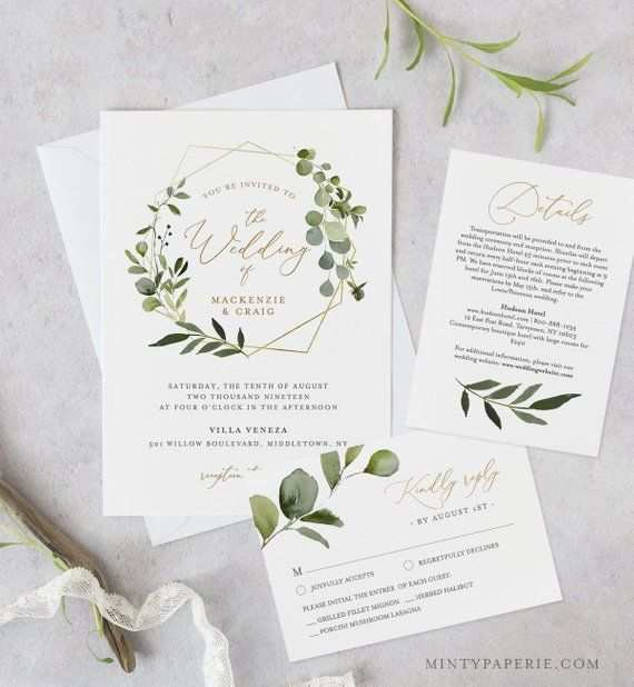 Wedding Invitation Template Printable Greenery Gold Invite
