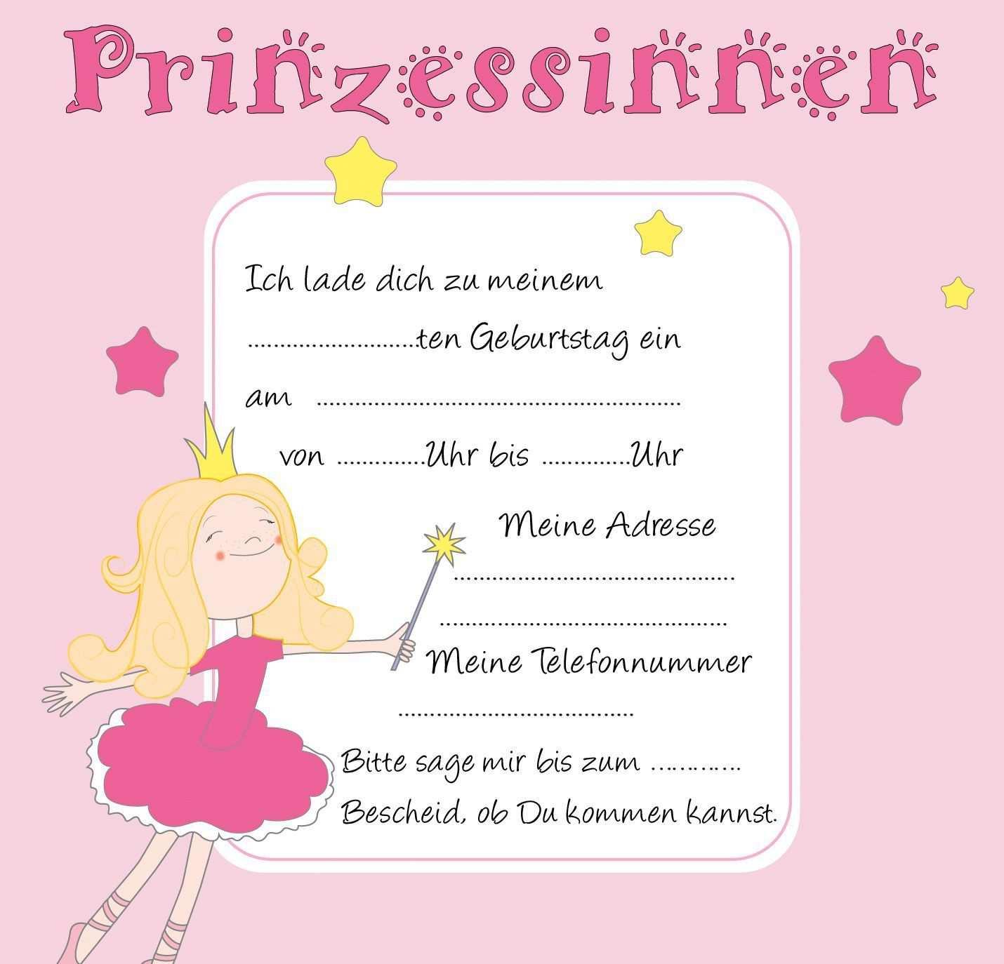 Kindergeburtstag Einladungen Zum Ausdrucken Kostenlos Prinzessin