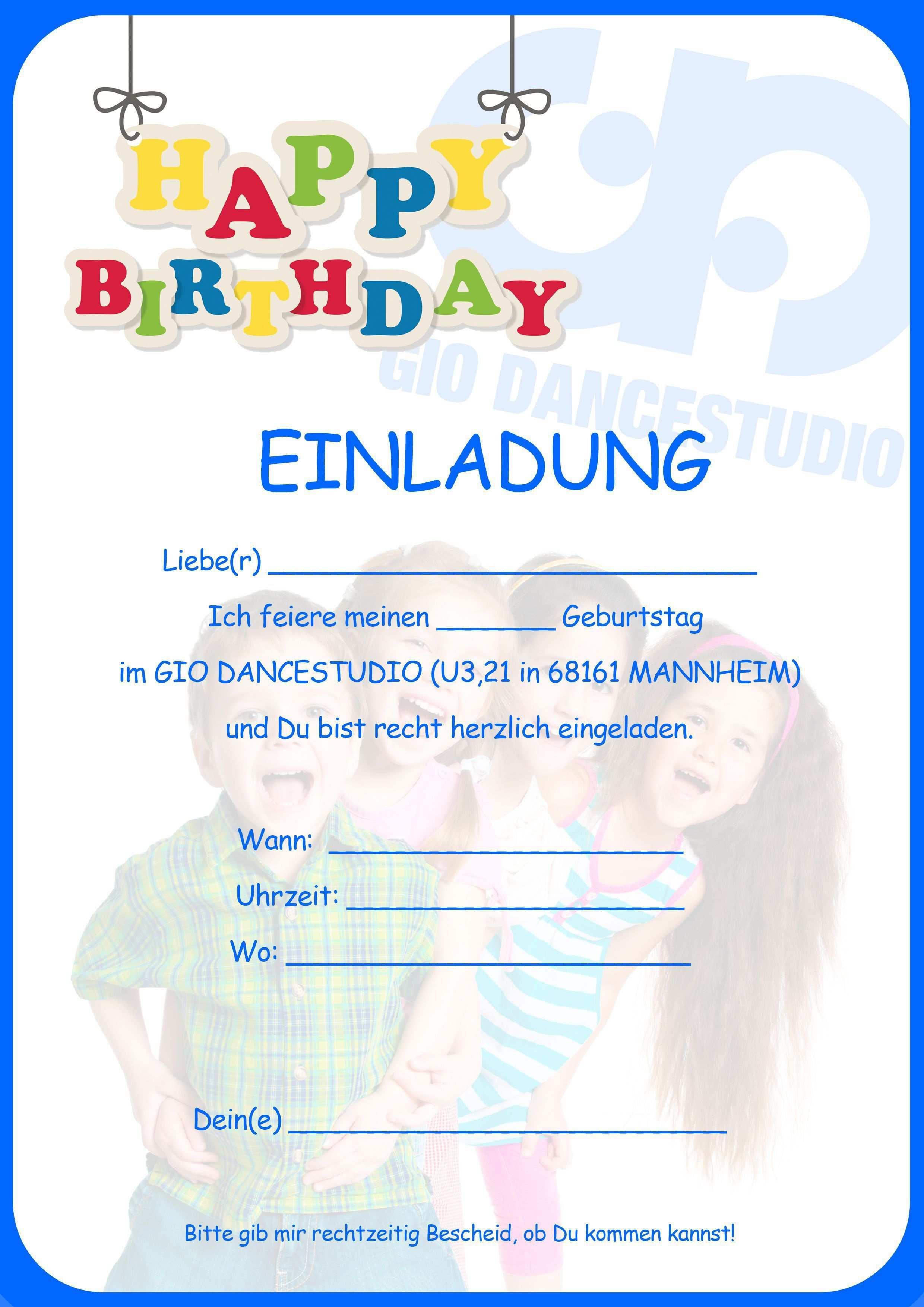 Geburtstagseinladung Vorlage Kindergeburtstag Kostenlos In 2020