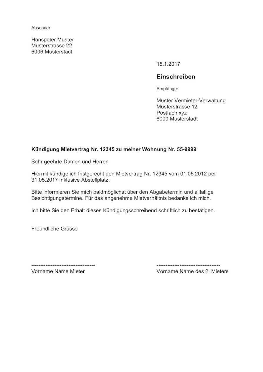 Kundigung Wohnung Mietvertrag Vorlage Vorlagen Lebenslauf Wohnungskundigung Kundigung