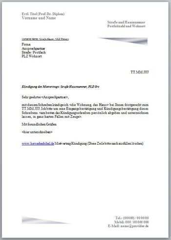 Kundigung Mietvertrag Vorlage Und Muster Kundigungsschreiben In