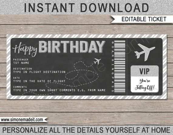 Birthday Boarding Pass Gift Ticket Surprise Flight Trip
