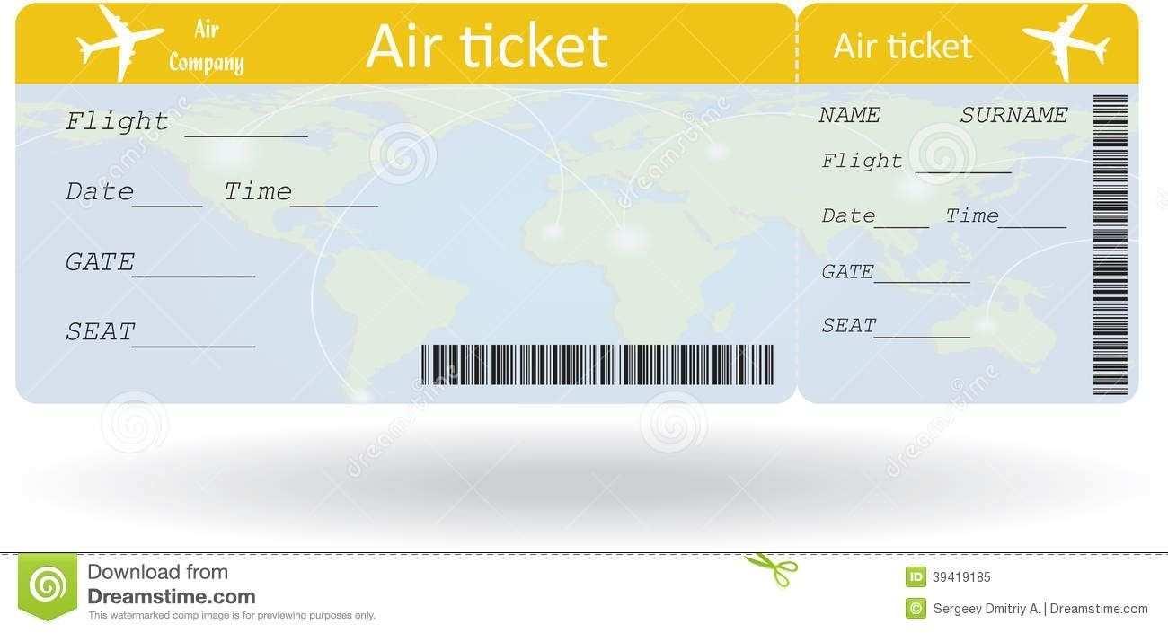 Airline Ticket Template Editable Ticket Vorlage Flugtickets Ticket