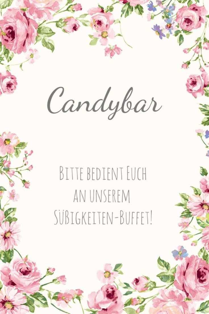 Schild Im Blumigen Design Als Vorlage Fur Die Hochzeit Candybar