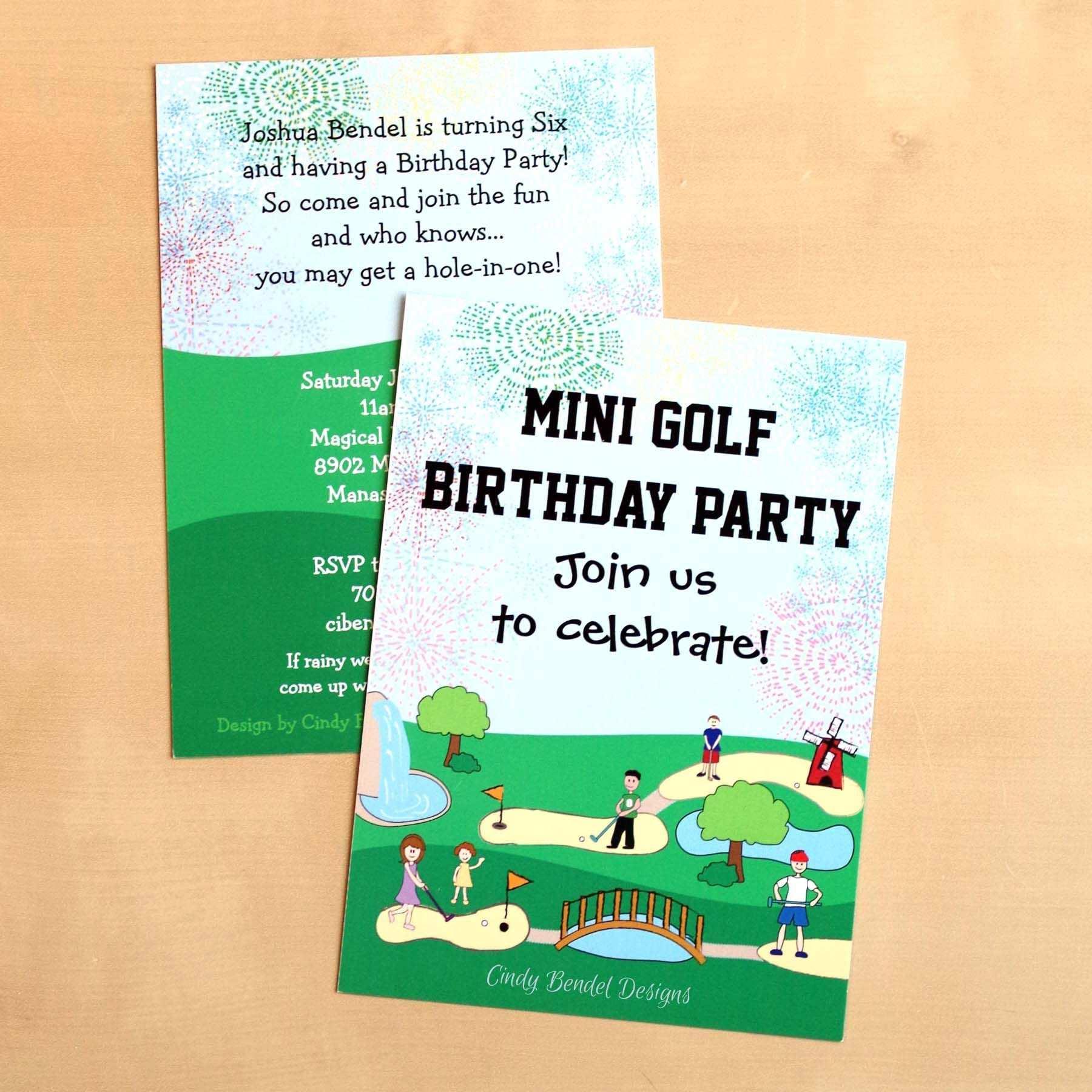 Einladungskarte Minigolf Spielen Einladung Kindergeburtstag