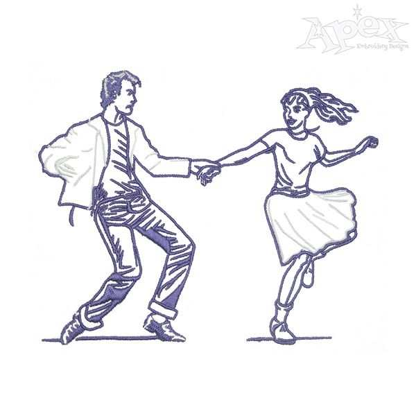 Dancing Couple Embroidery Design Tanzpaar Stickmuster Stickerei