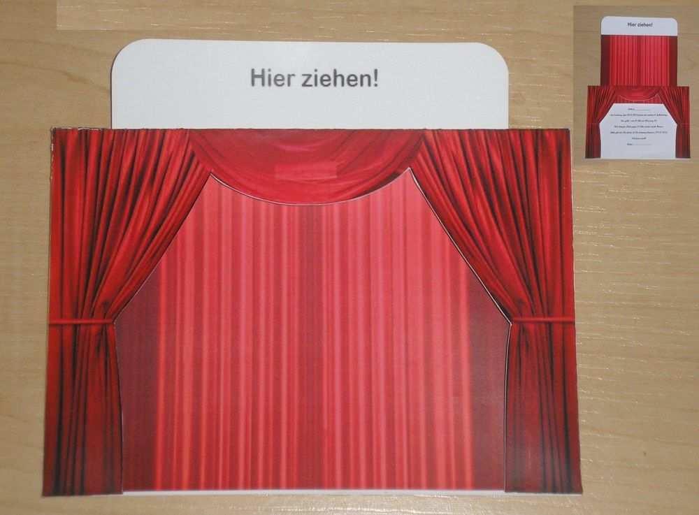 Vorhang Rot Gutscheinkarte Fur Einen Theater Musical Kino Papier