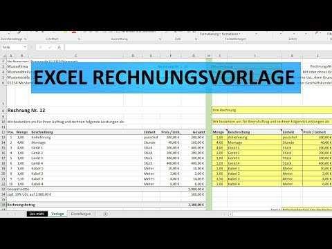 Excel Rechnungsvorlage Youtube