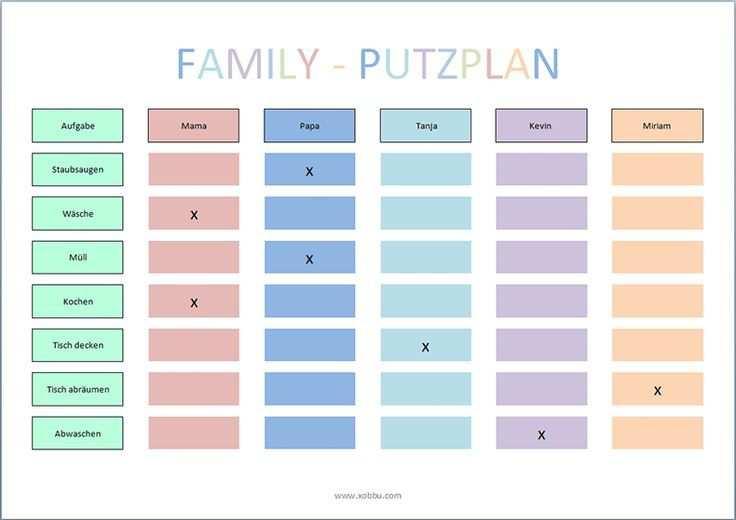 Putzplan Vorlage Familie Haushaltsplaner Planer Haushaltsplan