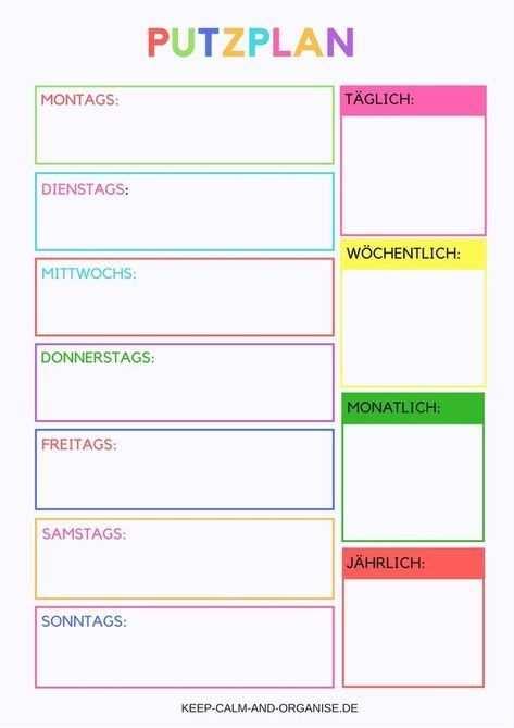 Putzplan Putzplan Deutsch Putzplan Vorlage Putzplan Familie