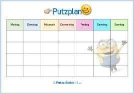 Bildergebnis Fur Wochenplan Vorlage Haushalt Fur Kinder Putzplan