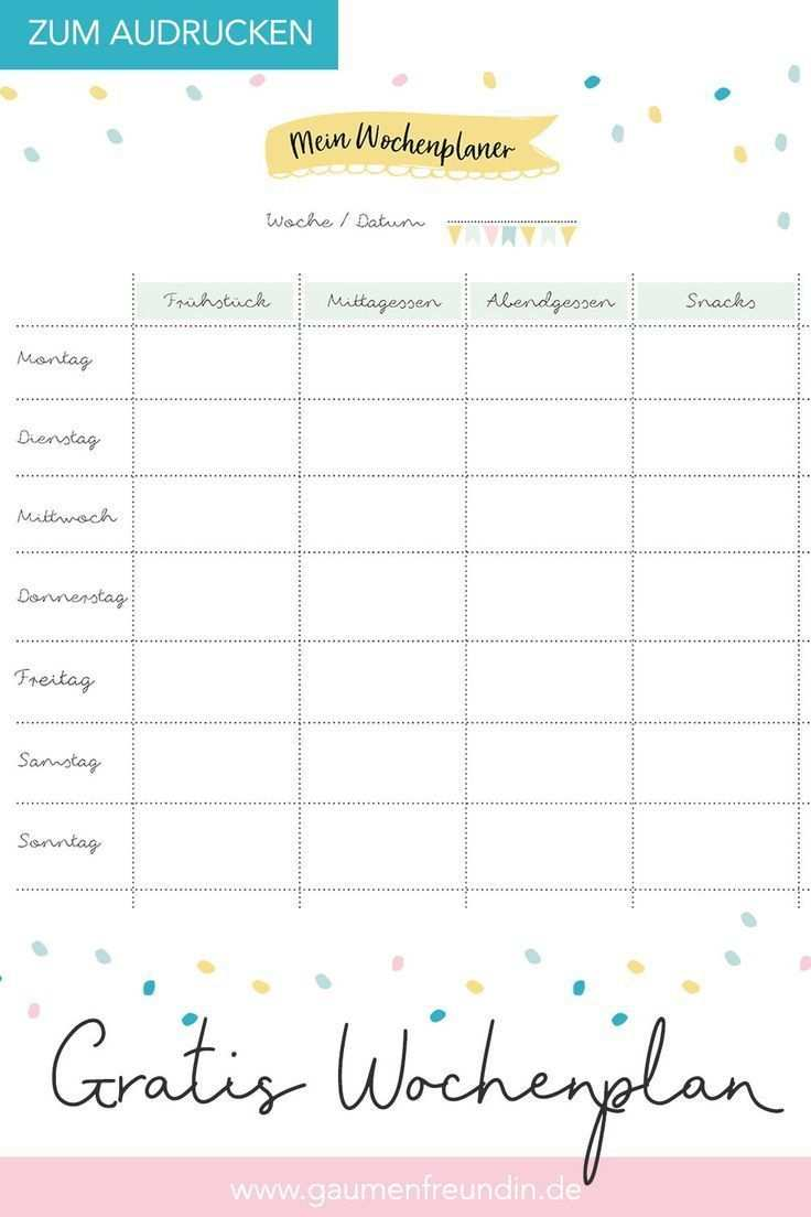 Free Weekly Schedule Template To Print Out For The Meal Plan
