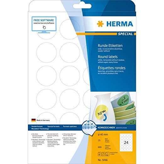 Herma 5066 Etiketten A4 O40 Mm Rund Movables Ablosbar Papier Matt