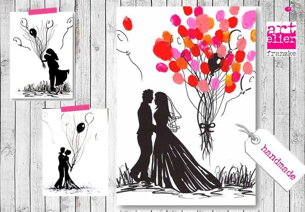 Wedding Tree Handgemalte Leinwand Brautpaar Luftballons