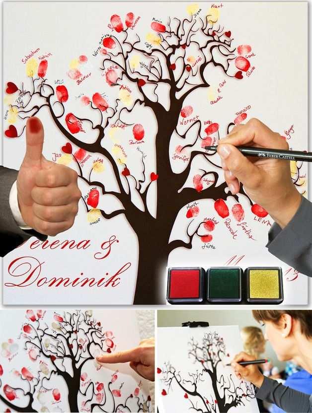 Fingerabdruckbaum Gallerynet Malen Hochzeit Fingerabdruck