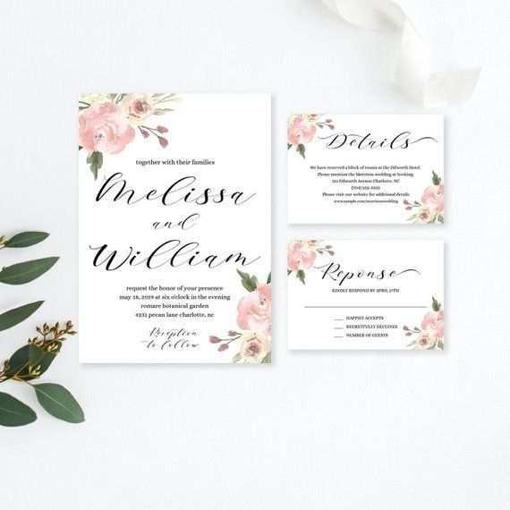 Floral Hochzeit Einladung Vorlage Herunterladen Floral