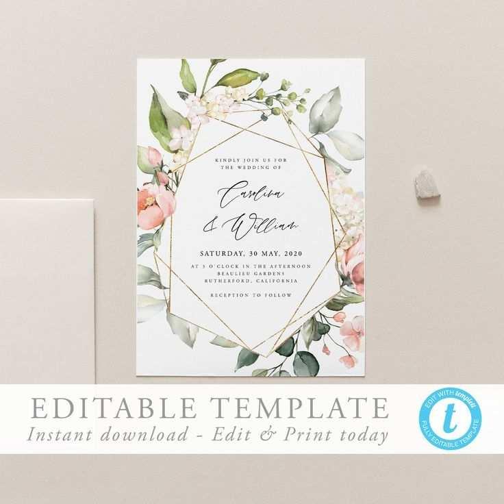 Geometrische Hochzeit Einladung Vorlage Download Hochzeit Einladen