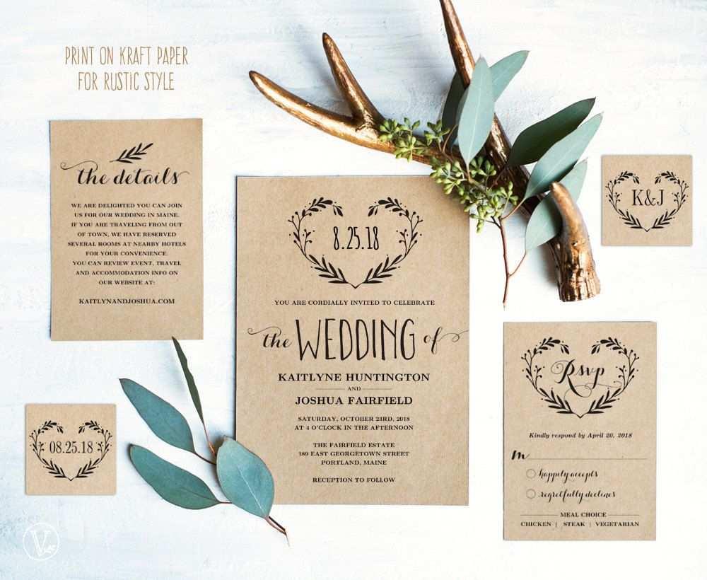 Rustic Wedding Invitation Set Printable Wedding Invitation