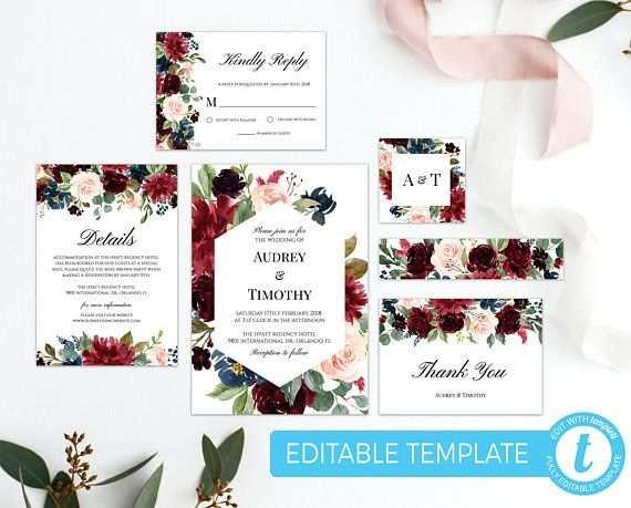 Burgund Hochzeit Einladung Suite Vorlage Floral Hochzeit Einladung