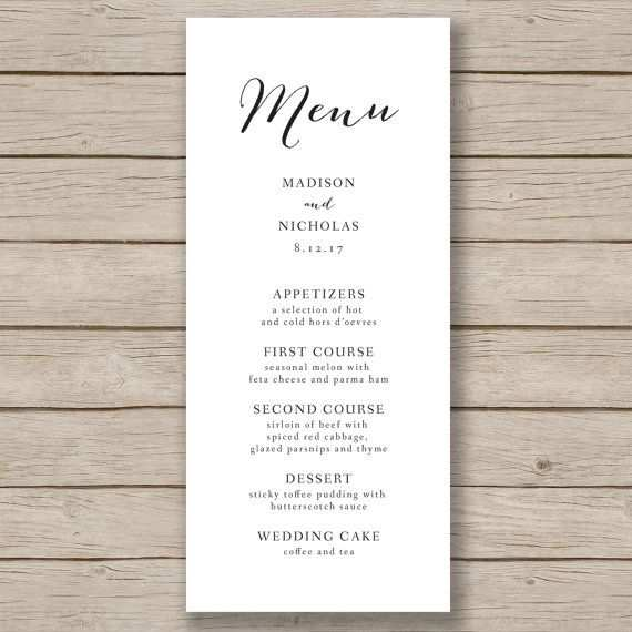 Wedding Menu Template Rustic Wedding Menu Printable Menu