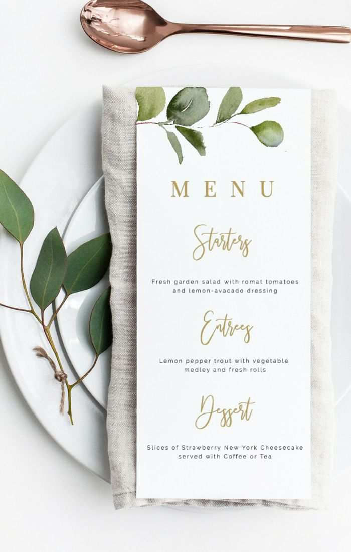 Menu Template Printable Menu Cards Instant Download Wedding