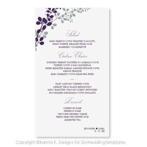 Hochzeit Menu Karte Vorlage Download Von Diyweddingtemplates