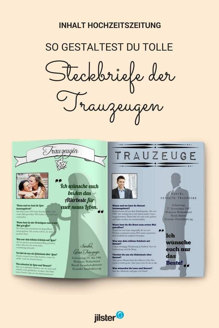 Steckbriefe Der Trauzeugen Fur Die Hochzeitszeitung Gestalten