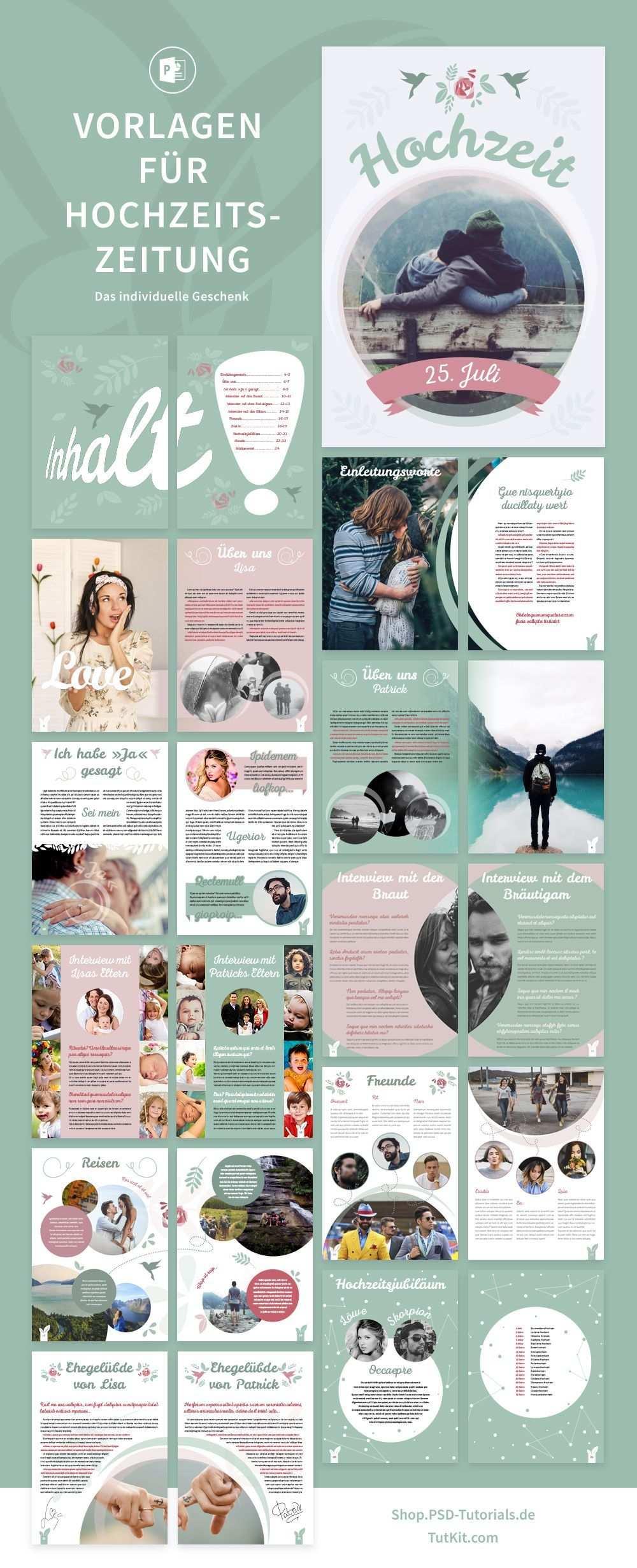 Hochzeitszeitung Vorlagen Fur Powerpoint Indesign In 2020