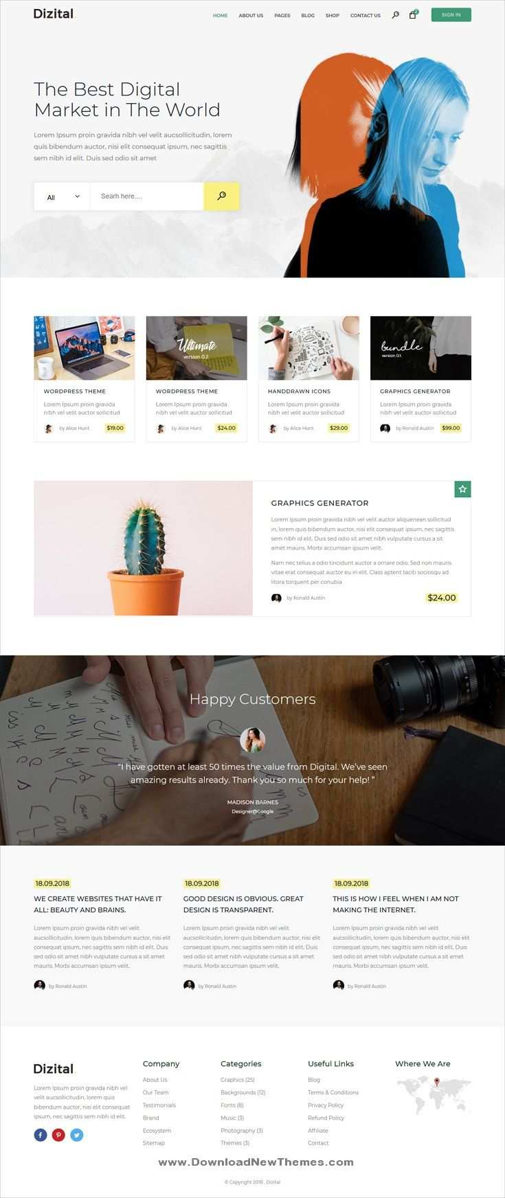 Dizital Is A Clean And Modern Design 3in1 Responsive Bootstrap