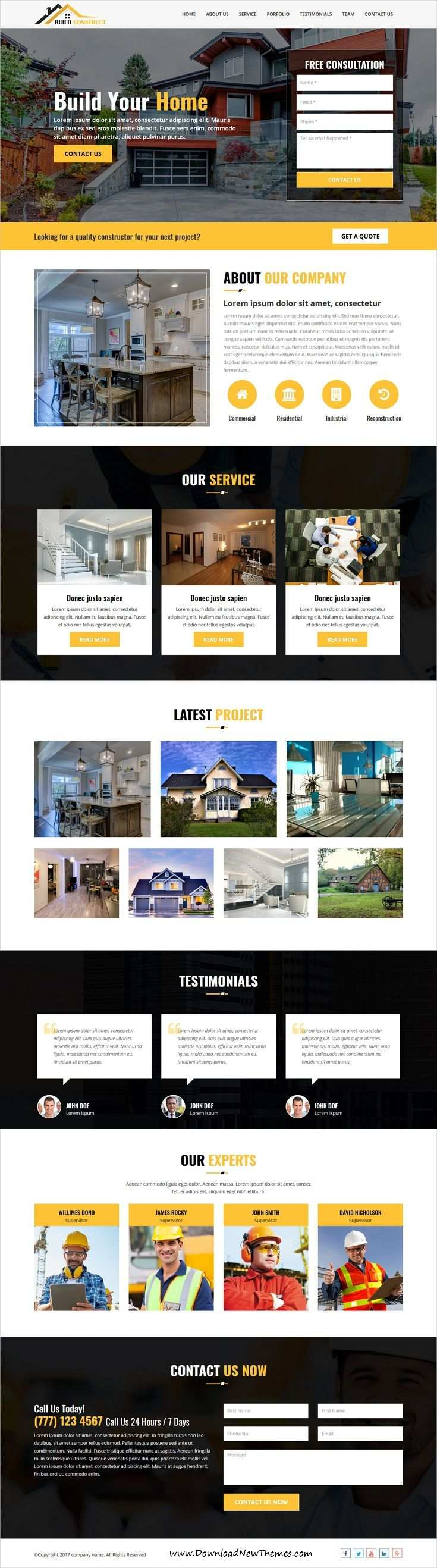 Build Construct One Page Construction Html Template Web Design