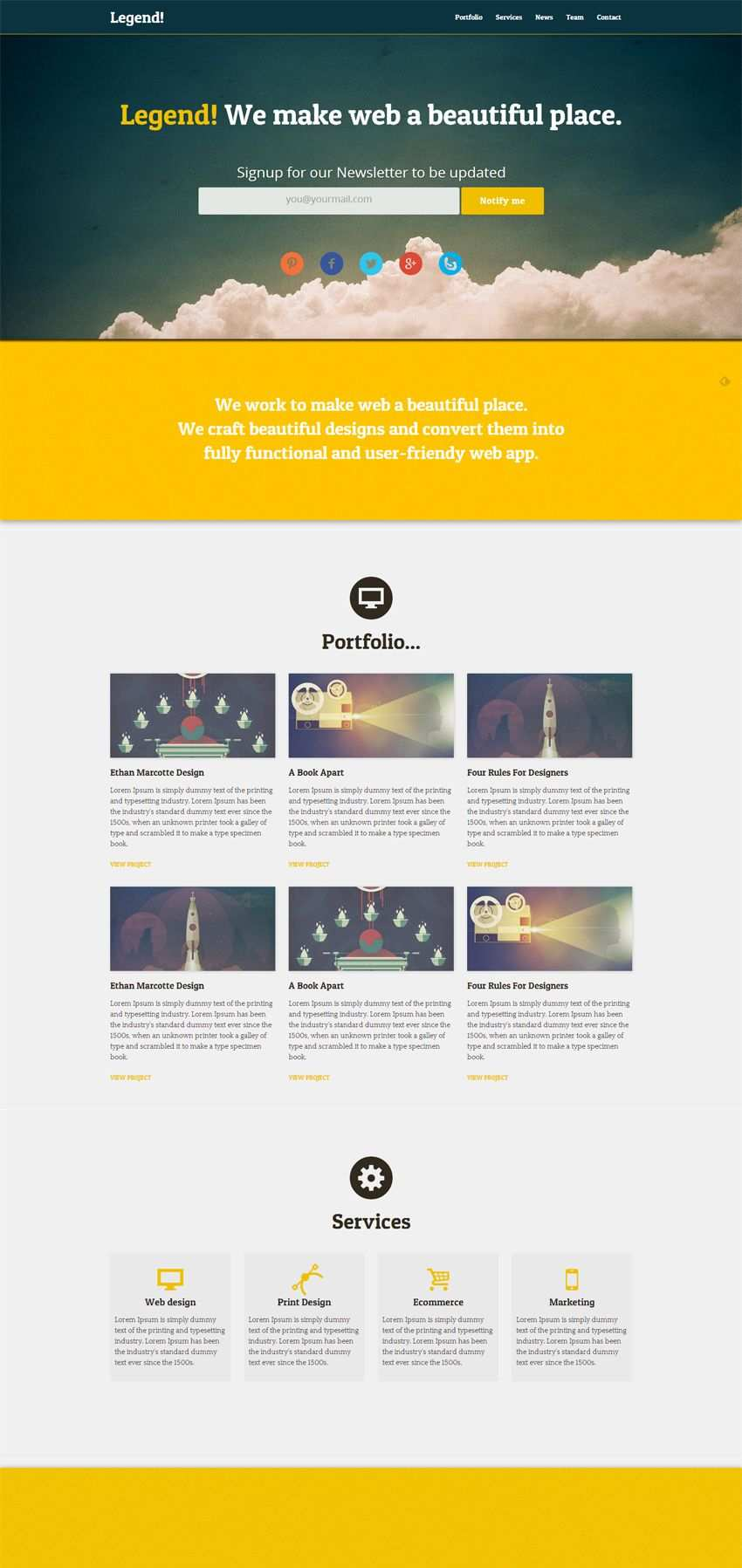 Legend Free Responsive One Page Html Template Web Design